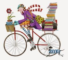 Mónica Carretero girl on bike with books and dog illustration I Love Books, My Books, Buch Design, Reading Art, Bicycle Art, World Of Books, Book Nooks, Whimsical Art, Book Lovers