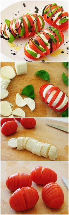 Hasselback Tomato Caprese ~ Tomato caprese in Hasselback potato-style with a balsamic drizzle