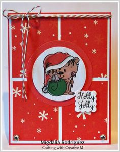 Crafting with Creative M with a Christmas card using the Christmas Hedgie (colored) from Bugaboo Stamps, Candy Cane Trendy Twine and the Merry & Bright stamp set from APB.