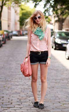 Summer outfit, light pink shirt, mint scarf, flat shoes