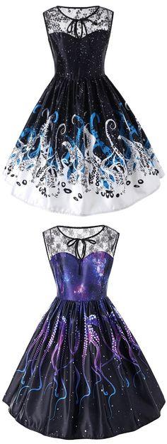 Octopus Claw Print Sleeveless Flared Dress #Gamiss #vintagedress