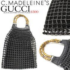 Gucci handbag, vintage handbags, Gucci leather hand bag, woven leather hand bag, bamboo handles on purse, gucci purse, leather purse, designer handbags, vintage designer handbags for sale