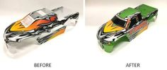 Want an easy way to paint an RC car body? By using one of Traxxas®' Prographi… Rc Car Bodies, E Revo, Remote Control Cars, Car Painting, Police Cars, Rc Cars, Decals, Lime, Abs