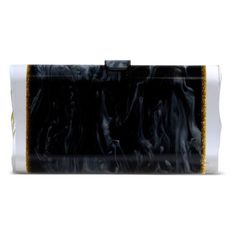 Edie Parker Black Acrylic Marbled Box Clutch ($720) ❤ liked on Polyvore featuring bags, handbags, clutches, black, lucite box clutch, clasp purse, black purse, metallic clutches and box clutch