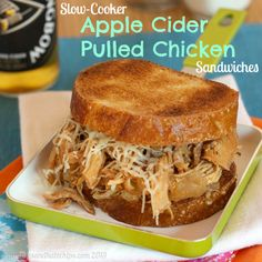 Slow cooker apple cider pulled chicken sandwiches.