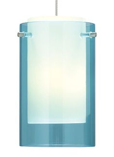 Mini Echo pendant. Translucent cylinder over a white case glass cylinder, highlighted with three metal details. Includes six feet of field-cuttable cable and lamp.
