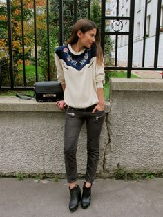 sweater, jeans, shoes