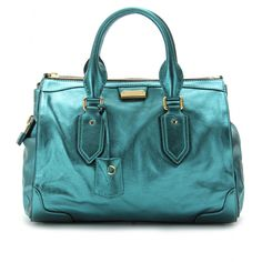 Burberry Prorsum  turquoise Gladstone - metallic leather bag. *Pant... Sigh...*
