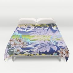 Cover yourself in creativity with our ultra soft microfiber duvet covers. Hand sewn and meticulously crafted, these lightweight duvet covers vividly…#new #fun #hot #tropical #floral #hibiscus #plumaria #palm #rain forest #art on #duvet covers for #home #apartment #bedroom #bed #gift by Polka Dot Studio