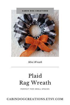Buffalo Plaid or Check Rag Wreath Mini Wreath 8 Inch Wreath #miniwreath #smallwreath #fallwreath #autumnwreath #buffalocheck # buffaloplaid #fabricwreath #ragwreath #masonjarwreath #harvest #autumn #fall Bedroom Decor For Couples, Fabric Wreath, Burlap Bows, Autumn Wreaths, Wreath Tutorial, Bridal Shower Decorations, Buffalo Plaid, Fall Decor, Autumn Fall