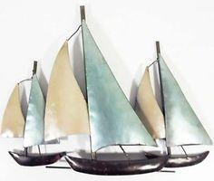 metal wall art sailing boats beach house accessories