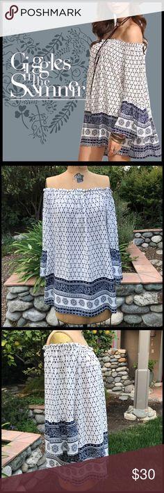 Off-Shoulder Dress Off-Shoulder Dress; blue and white hues cotton/poly material; bell sleeves. Boutique Dresses