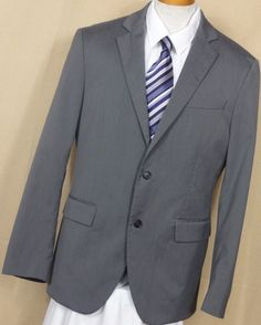 Sartoria Benetton Men's Gray 2 Button Polyester Blend Sport Coat Size 42R #Benetton #TwoButton