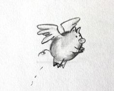 Flying Pig by ~AnjaBanjo. Minus the little lines that look like poop. Pig Illustration, Illustrations, Pig Images, Pig Ears, Small Tats, Cute Piggies, Tattoo Graphic, Cool Tats, Flying Pig