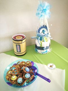 Monsters Inc Baby Shower, Diaper Cake Centerpieces, Scream, Compliments, Sons, Amazing, Desserts, Tailgate Desserts, Deserts