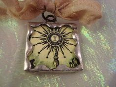 Vintage Art  Soldered Glass Pendant or Charm by victoriacharlotte, $7.00