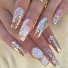 12 unique trending nail art designs for Hot nail right nail now in fashion. Stiletto nails, rainbow almond nails, Ombre rounded nail art designs for summer. Fabulous Nails, Gorgeous Nails, Pretty Nails, Nice Nails, Perfect Nails, Crome Nails, Hot Nails, Acrylic Nail Art, Gold Nail Art