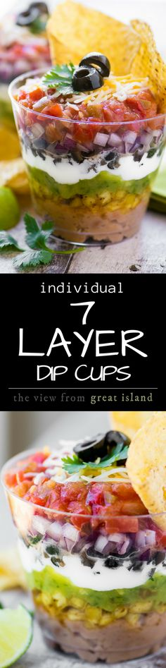 7 Layer Dip Cups ~ portable little appetizer stations layered up just like everybody's favorite Tex-Mex bean dip ~ so you can mingle and chow down at the same time ~ genius! | appetizers | 7 layer dips | dips | summer | rainbow | sponsored |