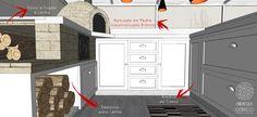 Os depósitos para armazenamento de lenha são abertos propositalmente. Os armários são emoldurados e possuem puxadores em formato de concha, elementos que ajudam a tornar o ambiente aconchegante.