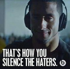 That's how you silence haters. Beats by dre Best Quarterback, Forty Niners, Sf Niners, Colin Kaepernick, Win Or Lose, Beats By Dre, Raining Men, San Francisco Giants, To My Future Husband