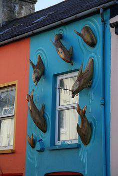 Dolphins, Dingle Shop Front, Kerry, Ireland. Street art 000