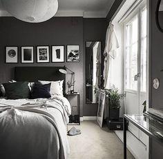 Dark Gray Bedroom, Small Master Bedroom, Modern Bedroom, Trendy Bedroom, Dark Bedrooms, Master Bedrooms, Bedrooms For Men, Masculine Master Bedroom, Charcoal Bedroom