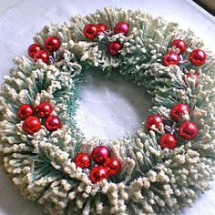 1950s Flocked Christmas Wreath