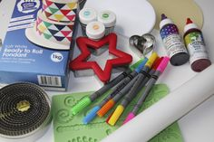 A selection of tools for icing with fondant