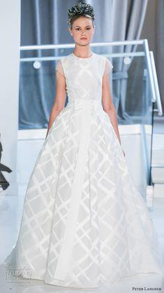 peter langner spring 2018 bridal cap sleeves jewel neck geomatric pattern romantic ball gown wedding dress sheer back chapel train (11) mv -- Peter Langner Spring 2018 Wedding Dresses