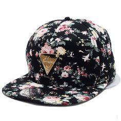 72190a05d3b Yonala Fashion Floral Snapback Hip-Hop Hat Flat Peaked Baseball Cap Bone  Floral