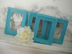 deep turquoise 4 piece set easel back picture frames weddings nursery ornate frames baroque style french country shabby chic, 4 - 4x6 white. $26.00, via Etsy.