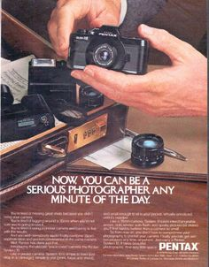 "Description: 1979 PENTAX CAMERA vintage magazine advertisement ""serious photographer"" -- Now, you can be a serious photographer any minute of the day. ... Introducing the ultimate ""just in case"" camera: the Pentax System 10. -- Size: The dimensions of the full-page advertisement are approximately 10.25 inches x 13 inches (26 cm x 33 cm). Condition: This original vintage full-page advertisement is in Excellent Condition unless otherwise noted."
