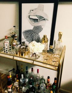 Bar cart, vintage glasses for scotch and whiskey collection, gold overlay glasses