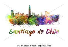 Drawings of Santiago de Chile skyline in watercolor splatters ...