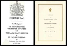 Royal wedding invitation - Charles & Diana