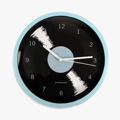 Horloge vinyle bleue Kikkerland : http://ptilien.fr/VP2g #home #deco #decoration