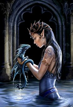 Elfa con dragón, de Anne Stokes