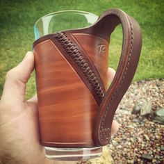 Fine leather pint glass sleeves, handcrafted in Montana by PintGlassLeather Custom leather pint glass sleeve, handcrafted in Montana. Leather Carving, Leather Art, Sewing Leather, Leather Gifts, Custom Leather, Leather Design, Handmade Leather, Leather Jewelry, Leather Tooling Patterns
