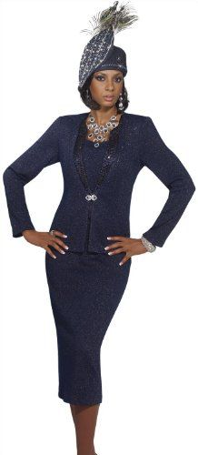 Exclusive Lurex Knitted Navy Special Church Suit by Donna Vinci