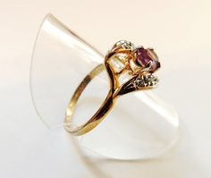 Amethyst Cz Gold Ring by EstateHeirlooms on Etsy