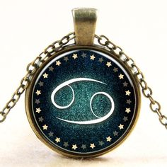 Cancer Pendant Cancer Necklace, Zodiac Sign Pendant, Constellation Jewelry Handmade accessory Cabonchon Glass Necklace