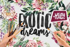 Exotic Dreams | Wreath Creator by Katsia Jazwinska on @creativemarket