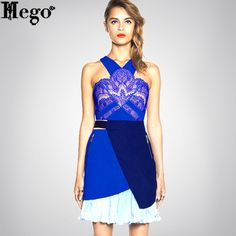 HEGO Fashion Dress 2015 Summer Women Clothing Brand Lace Print Dress Hot With Free Shipping MX223