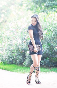 embellished black sheer mesh romper, leopard clutch, m.gemi arioso tassel gladiator sandals   summer outfit