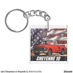 1971 Cheyenne 10 Stepside Single-Sided Square Acrylic Keychain