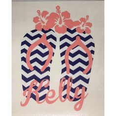 Navy Chevron and Coral Flip Flops and Flowers Decal for Yeti Tumbler... ($10) ❤ liked on Polyvore featuring home, kitchen & dining, drinkware, drink & barware, grey, home & living, monogram tumbler, monogram cups and polka dot cups