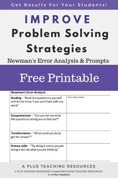 If you want to help your kids solve math problems try using Newman's error analysis with them. This FREE Template helps your kids solve math problems in 5 easy steps! Get FREE template from our website! Teacher Freebies, Classroom Freebies, Teacher Resources, Primary Classroom, Teaching Tips, Teaching Math, Guided Maths, Teaching Strategies, Kindergarten Activities