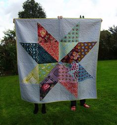 Hand quilted!!  Non-Euclidean Quilting: Giant Star Quilt