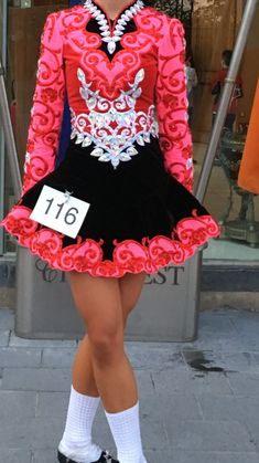 Impressive Pink Elevation Design Irish Dance Dress Solo Costume For Sale