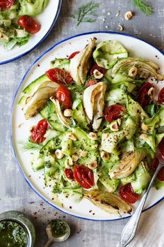pesto zoodle salad with roasted fennel and cherry tomatoes #vegan